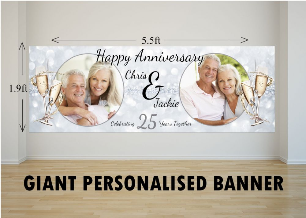 Personalised Giant Large 25th Silver Wedding Anniversary Photo Poster Banner N27